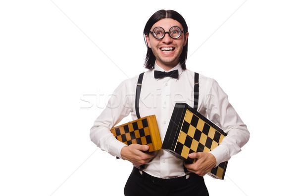 Stréber sakk játékos izolált fehér kéz Stock fotó © Elnur