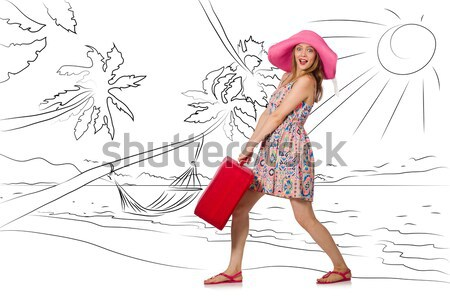 Woman with tulip flowers isolated on white Stock photo © Elnur