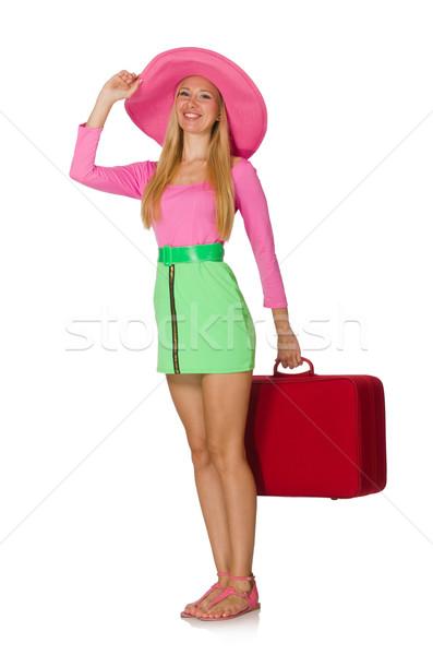 женщину Летние каникулы изолированный белый девушки счастливым Сток-фото © Elnur