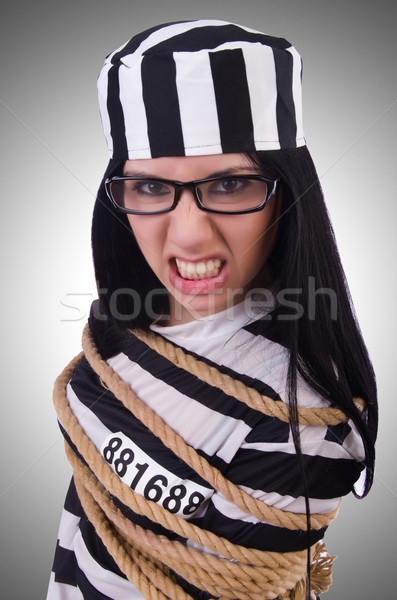 Prigioniero strisce uniforme bianco metal sicurezza Foto d'archivio © Elnur