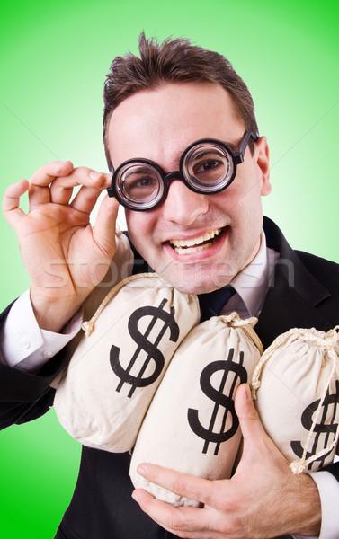 Stockfoto: Man · geld · blanke · man · kantoor · glimlach · gezicht
