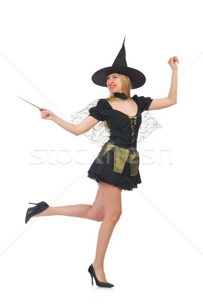 Mulher mágico mão fundo terno preto Foto stock © Elnur