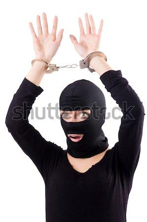 Foto stock: Engraçado · ninja · isolado · branco · homem · máscara