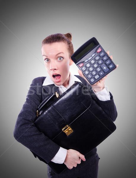 オタク 女性 会計士 電卓 女性 お金 ストックフォト © Elnur