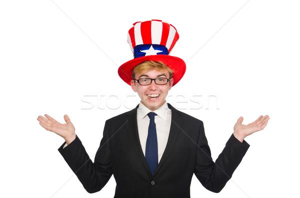 Сток-фото: бизнесмен · американский · Hat · изолированный · белый · бизнеса
