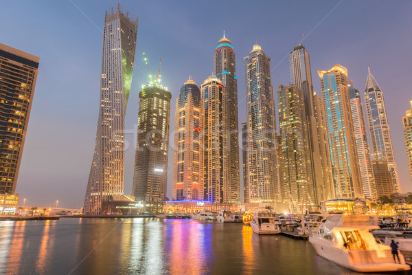 Dubai marina arranha-céus noite céu água Foto stock © Elnur