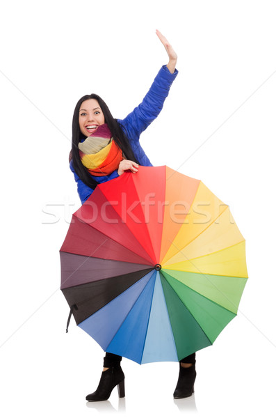 Pretty girl in blue winter jacket and umbrella isolated on white Stock photo © Elnur