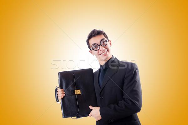Nerd Geschäftsmann Gradienten Business Arbeit Anzug Stock foto © Elnur