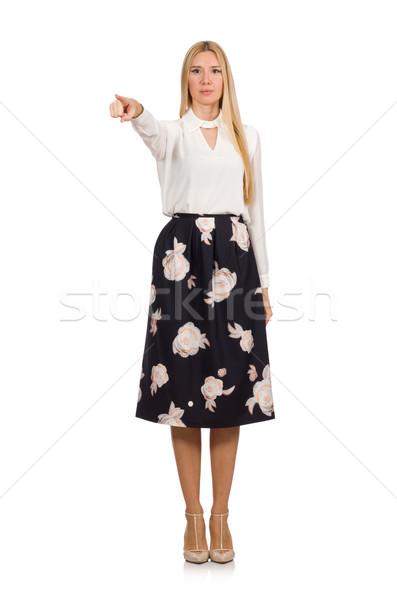 Dość dziewczyna czarny spódnica kwiaty odizolowany Zdjęcia stock © Elnur