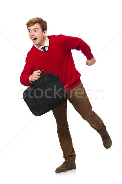 Student with bag isolated on white Stock photo © Elnur