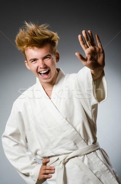 Vicces karate vadászrepülő visel fehér kimonó Stock fotó © Elnur
