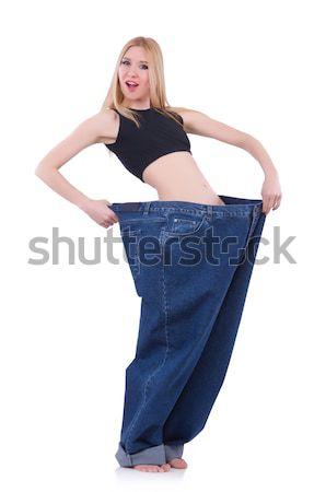 диеты большой джинсов белый счастливым фитнес Сток-фото © Elnur