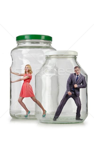 Pessoas preso vidro jarra família empresário Foto stock © Elnur