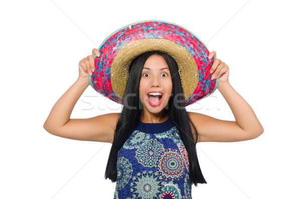 Giovani indossare sombrero bianco ragazza Foto d'archivio © Elnur