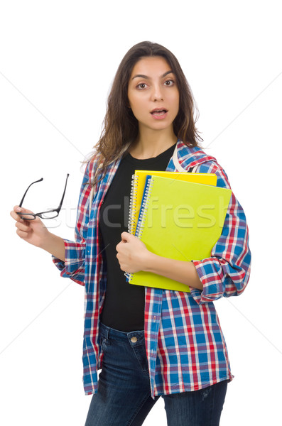 Young student with textbooks isolated on white Stock photo © Elnur