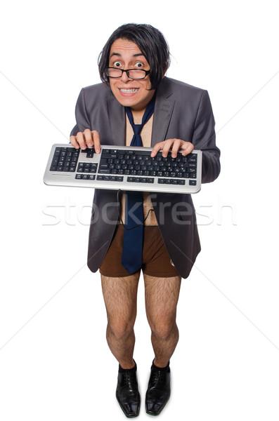 Vicces férfi üzlet meztelen munka billentyűzet Stock fotó © Elnur