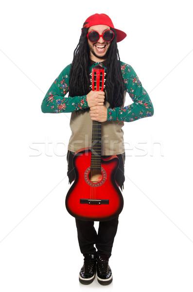 Stock fotó: Férfi · gitár · musical · fehér · férfi · fehér · buli