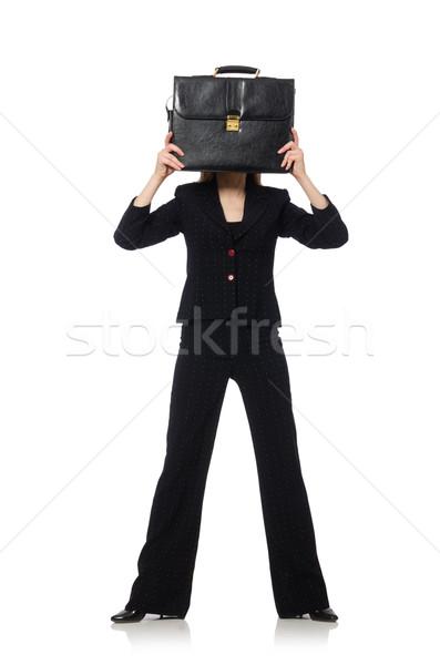 Vrouw zakenvrouw aktetas geïsoleerd witte meisje Stockfoto © Elnur