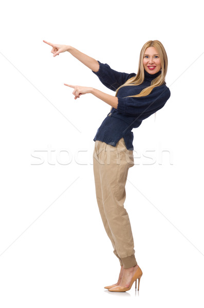 Tall woman in blue pullover isolated on white Stock photo © Elnur