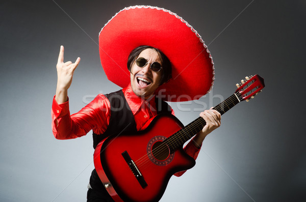 Mexicaanse gitarist Rood partij disco leuk Stockfoto © Elnur