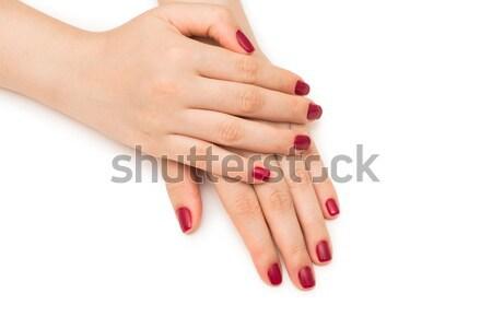 Nő kezek piros szög izolált fehér Stock fotó © Elnur