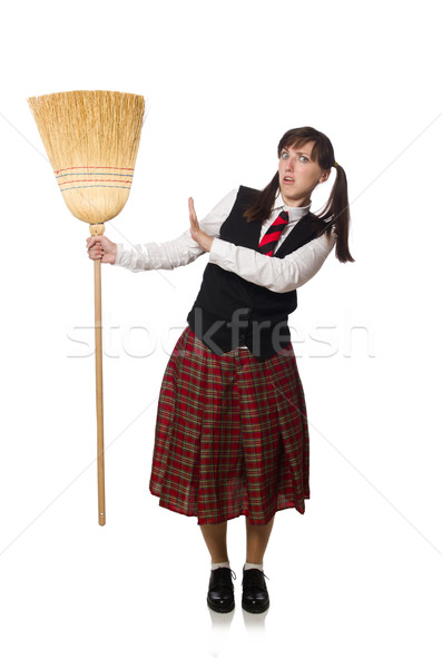 Funny girl with broom isolated on white Stock photo © Elnur