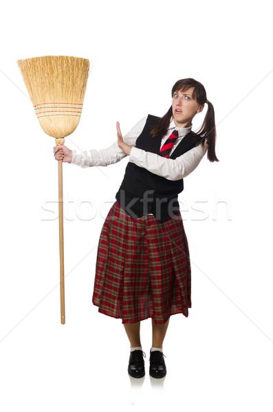 Komik kız süpürge yalıtılmış beyaz kadın Stok fotoğraf © Elnur