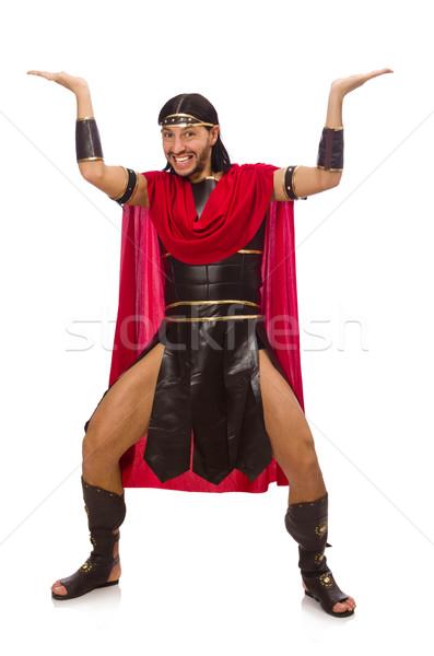 ストックフォト: 剣闘士 · 孤立した · 白 · 男 · 赤 · 服