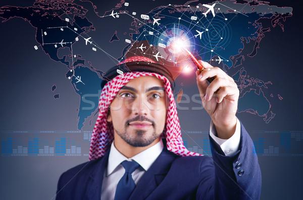 Arab férfi világutazás üzlet repülőtér hajó Stock fotó © Elnur