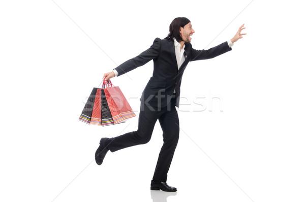 ストックフォト: 黒服 · 男 · プラスチック · 袋 · 孤立した