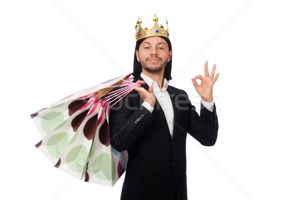 Black suit man holding plastic bags isolated on white Stock photo © Elnur