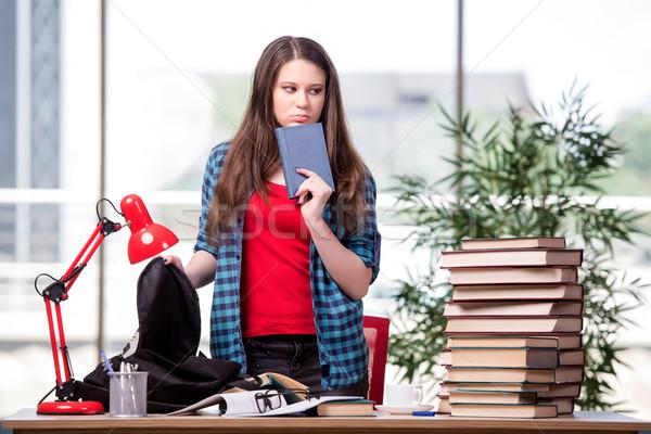 Stock fotó: Fiatal · diák · iskola · vizsgák · nő · otthon