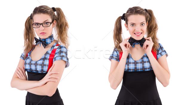 The schoolgirl isolated on the white Stock photo © Elnur