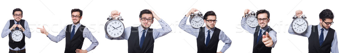 Collage of businessman with clock on white Stock photo © Elnur
