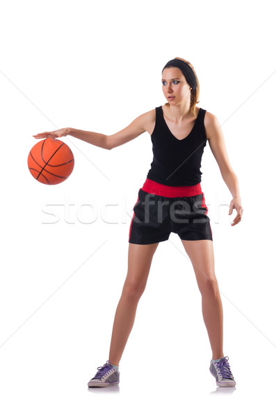 Vrouw spelen basketbal geïsoleerd witte sport Stockfoto © Elnur