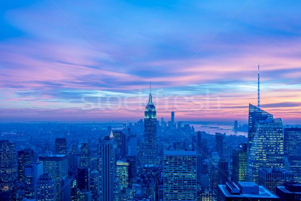Nacht Ansicht neue manhattan Sonnenuntergang Business Stock foto © Elnur