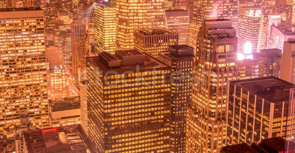Ansicht neue manhattan Sonnenuntergang Business Himmel Stock foto © Elnur