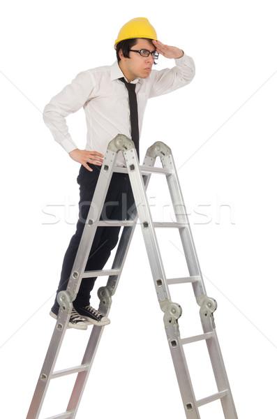 Travailleur de la construction drôle blanche affaires homme travaux Photo stock © Elnur