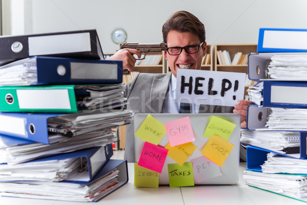 Busy businessman asking for help with work Stock photo © Elnur