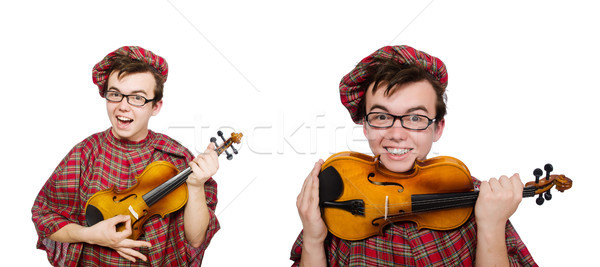 The funny scotsman with violin on white Stock photo © Elnur