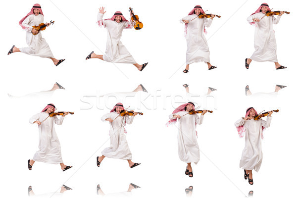 Stock photo: Arab man playing violing on white