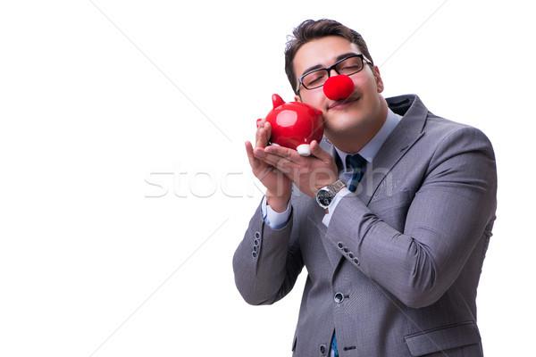 Vicces bohóc üzletember persely izolált fehér Stock fotó © Elnur