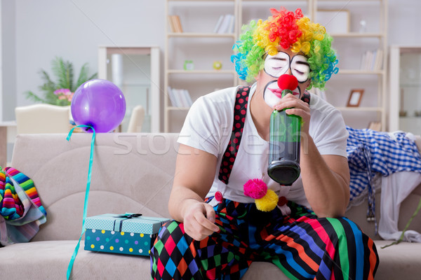 The drunk clown celebrating having a party at home Stock photo © Elnur