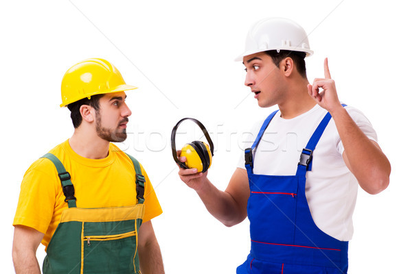 Two workers isolated on the white background Stock photo © Elnur