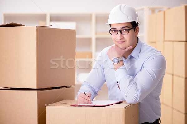 Man working in box delivery relocation service Stock photo © Elnur