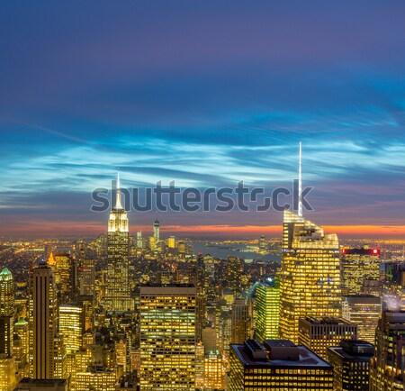 Nacht New York Manhattan zonsondergang business Stockfoto © Elnur