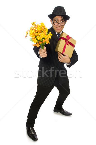 Funny man with flowers and giftbox Stock photo © Elnur