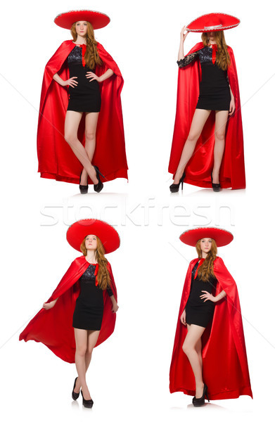 Mexicano mujer rojo ropa blanco feliz Foto stock © Elnur