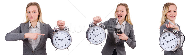 Empresária cinza terno despertador isolado Foto stock © Elnur