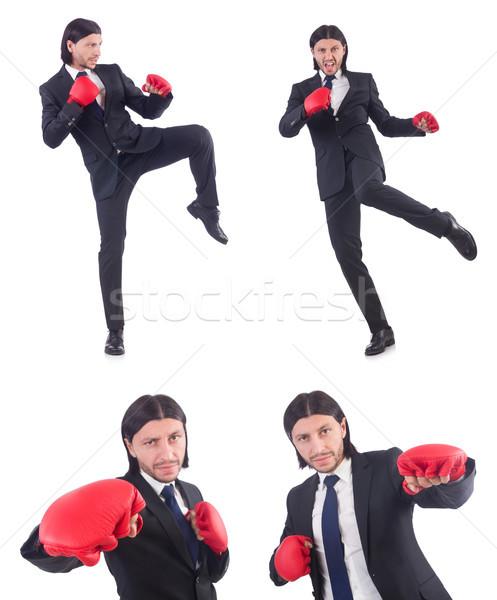 üzletember boxkesztyűk fehér munka portré piros Stock fotó © Elnur